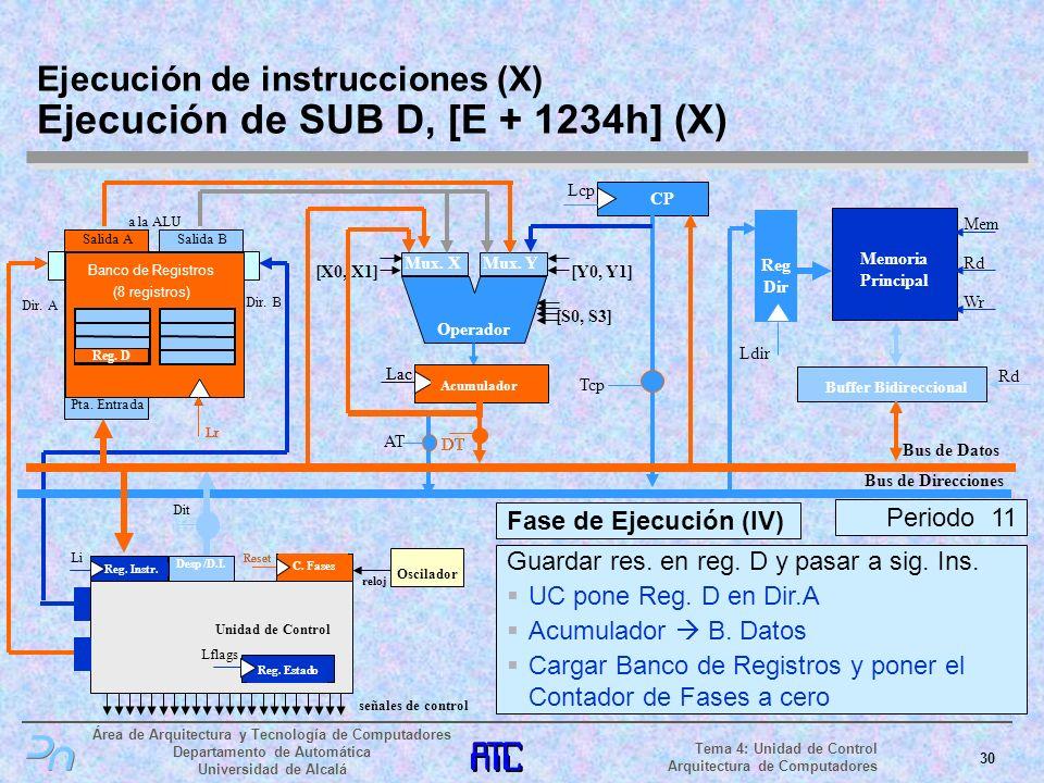 Ejecución de instrucciones (X) Ejecución de SUB D, [E + 1234h] (X)